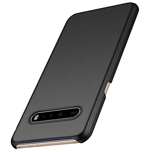 anccer Kompatibel LG V60 ThinQ Hülle [Serie Matte] Elastische Schockabsorption & Ultra dünnes Handyhülle Design für LG V60 ThinQ 5G (Glattes Schwarzes)
