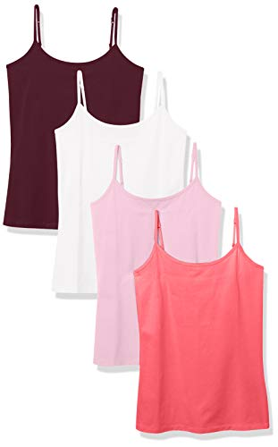 Amazon Essentials 4-Pack Camisole Tank-top-and-cami-Shirts, Weiß/Burgunderrot/Koralle/Hellrosa, 40-42
