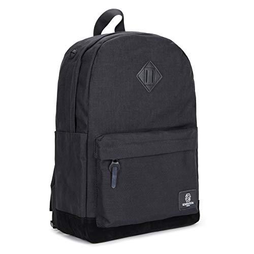 SEVENTEEN LONDON – Moderner und Unisex 'Westminster' Rucksack in schwarz mit Einer schwarzen Basis aus Fauxwildleder und einem klassischen Design im Schultasche-Stil – perfekt für 15.6-Zoll-Laptops