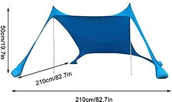 Tente De Plage Abri De Soleil De Tente De Plage Avec Pare-Soleil De Plage Portable Coupe-Vent Pour Les Pique-Niques En Famille Camping En Plein Air Plage Se PréLasser (Blue)
