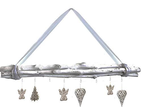 Bada Bing Weidenzweige gebunden 8 Haken Weiß Mit weißem Dekoband zum Aufhängen ca. 80 cm Lang Naturprodukt Dekobündel Wanddeko zum Hängen 95