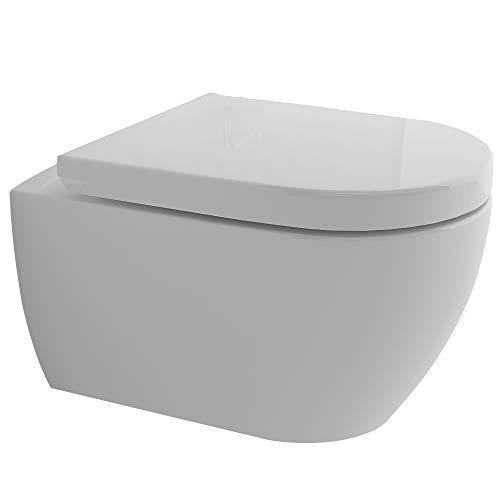 Spülrandloses Hänge-Dusch WC integrierte Bidet-Taharet Funktion I Abnehmbarer WC-Sitz D-Form   inkl. WC und Sitz Anschluss-Set   2 in 1 Bidet und WC