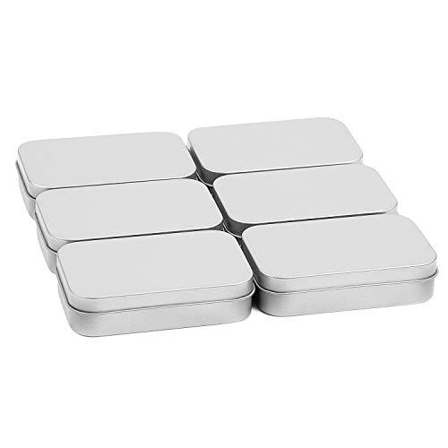 MICGEEK 6 Stücke kleine eckige Blechdosen Metalldosen mit Deckel Leere Scharnierdosen Dose Metall Box Aufbewahrung rechteckig Organizer Mini Box Storage