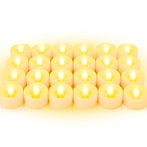 Flammenloses LED Kerzen, BAONUOR 24 LED Teelichter flackernde Tealights, warmweiß, CR2032 batteriebetriebene Kerzen für Hochzeit, Weihnachten, Ostern, Party usw. [Energieklasse A++]
