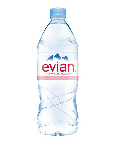 6 botellas de agua Evian Natural 1000 ml. PET.