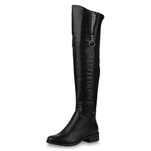 SCARPE VITA Damen Stiefel Overknees Leicht Gefütterte Boots Zipper Metallic 169286 Schwarz Zipper Leicht Gefüttert 38