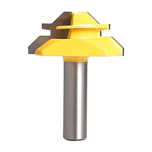 yeacher 45° Woodworking Lock Miter Router Bit Tenon Milling Cutter Tool Drill-Bit 1/4 * 2 1/4 * 1-3/8 1/2 * 2 Shank Optional