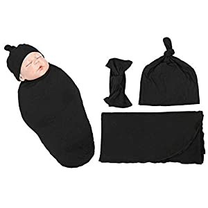 Swaddle, Hat and Headband Set – Stretchy, Comfortable Swaddle/Receiving Blanket for Baby Boy or Girl – Black