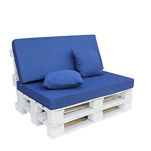 Cojines para Muebles de Euro Palets / 4 Piezas (Asiento + Respaldo + 2 Almohadas) / Colores Lisos / Decora tu Jardín (Azul)