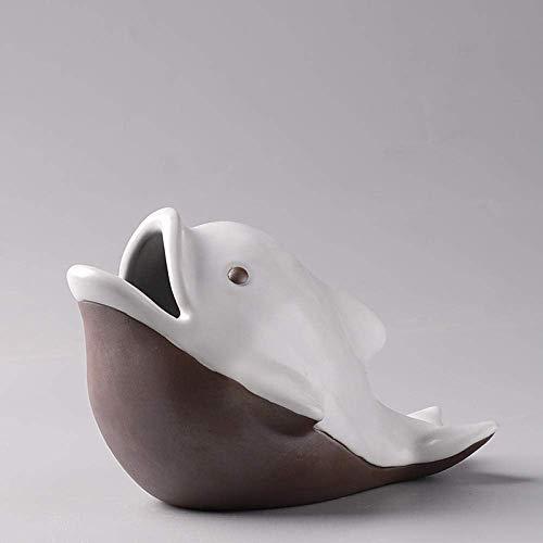 MISS KANG Cenicero cenicero para cenicero Interior con Tapa de cerámica tiburón cenicero Creativo Personalidad a Prueba de Viento Sala de Estar a Prueba de Agua Oficina cenicero decoración Qingchunw