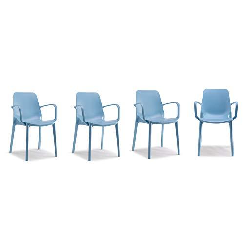 Scab Design–Set 4Stühle Genf mit Armlehnen hellblau