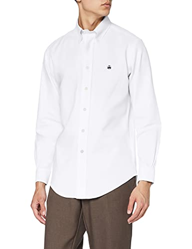 Brooks Brothers - Sport NON-IRON Oxford Slim - chemise - Homme - blanc (White 48) - S (Taille fabricant: S)