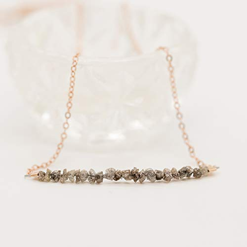 Raw Chocolate Diamond Rose Gold Filled Necklace Jewelry Gift for Women