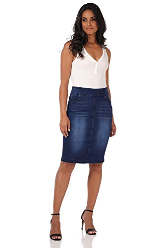 Rekucci Jeans Women's Ease into Comfort Pull-On Stretch Denim Skirt (12,Ink Blue Sandblast)