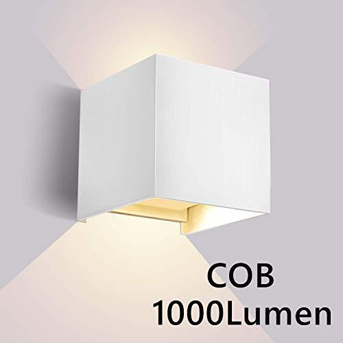 Lightess 10W LED Wandleuchte Innen Aussen Weiss 120° mit einstellbaren Abstrahlwinkel Design Wandlampe Modern Up Dwon Licht IP65 Wasserdicht aus Aluminium Warmweiß