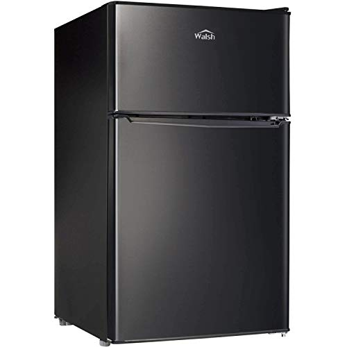 Walsh WSR31TBK Compact Refrigerator, Dual Door Fridge, Adjustable Mechanical Thermostat with True Freezer, Reversible Doors, 3.1 Cu.Ft, Black