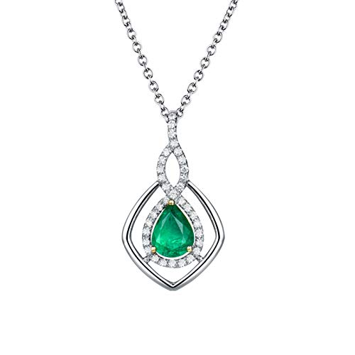 KnSam 18K White Gold Womens Necklace, Water Drop Rhombus Pear Cut Green Emerald 1.16ct VS and 0.27ct Diamond Silver