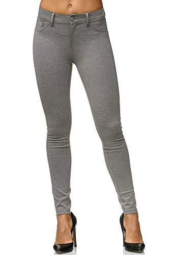 Elara Damen Stretch Hose Skinny Fit Jegging Chunkyrayan H01-21 Light Grey 38 (M)