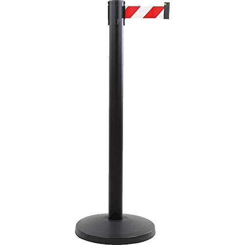 ALLROUNDLINE Gurtpfosten, Gurt rot/weiß 3 m, schwarzer Abgrenzungsständer, Personenleitsystem aus Stahl, Kunststoff