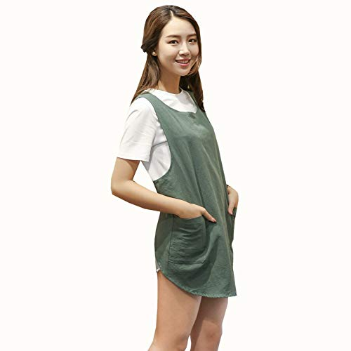 Shortened Design Apron Japanese Style Soft Cotton Linen Apron with Two Side Pockets X Cross Halter Apron Kitchen Cooking Clothes Gift for Women DIY Project Crafting Cooking Baking Army Green