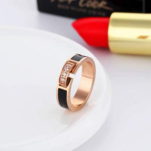 Koreaanse versie van de Diamond Rose Gold Joint Ring Vrouwelijke Persoonlijkheid Getij Mensen Index Vinger Studenten Eenvoudige Kleine Vinger Ring, Steen, Populair, Party Flat Ring, Geometrie, Lijm, Titanium Staal