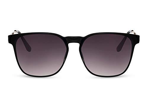 Cheapass Gafas de sol Sunglasses Modernas Clásicas Marco rectangular negro con lentes degradados y patillas de metal Vintage UV400 Protegido Hombres Mujeres