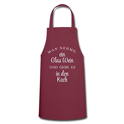 Spreadshirt Man Nehme Ein Glas Wein Und Gebe Es In Den Koch Kochschürze, Bordeaux