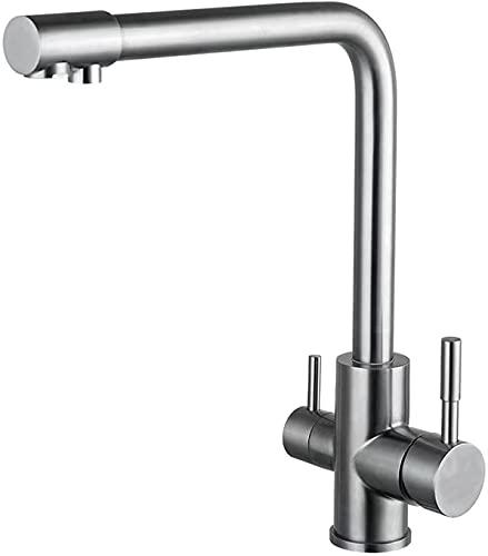Grifo monomando de cocina caliente/frío, manguito para lavabo de dos palancas, cromado, con toma de agua potable