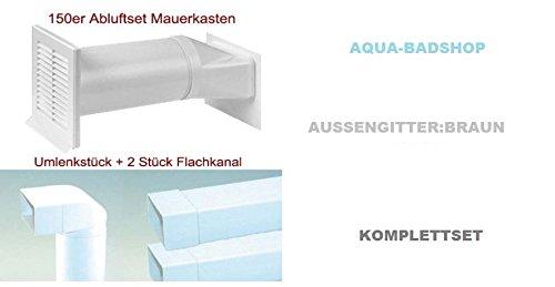 Abluftset 150 mm Mauerkasten rund mit Rechteckanschluss und Rückstauklappe 2x Flachkanal 1m sowie Umlenkstück von flach auf rund Abluft Küche Dunstabzug-Aussengitter:Braun