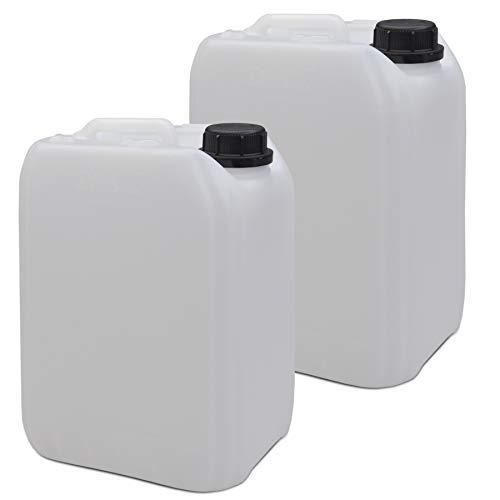 2 x 5 Liter Leerkanister Neu mit Sicherheitsverschluss (DIN 45) | Lebensmittelecht | Tragbar Stapelbar und Stabil | Indoor und Outdoor | BPA Frei | Made in DE