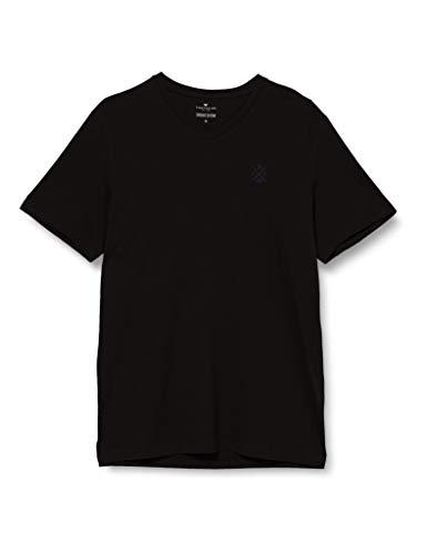 TOM TAILOR Herren Basic T-Shirt, 29999-Black, XL