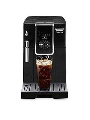 De'Longhi Dinamica Automatic Coffee & Espresso Machine TrueBrew (Iced-Coffee), Burr Grinder + Descaling Solution, Cleaning Brush & Bean Shaped Icecube Tray, Black, ECAM35020B