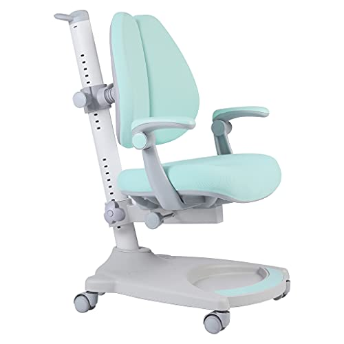 Ergonomic Kids Desk Chair, Child's Children Student Study Office Chair, Adjustable Height and Depth, Sit-Brake Casters and Footrest, Non-Swivel Type (Green+White)