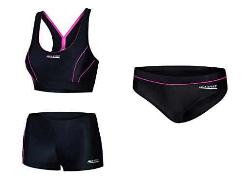 Aqua Speed Bikini Set + Bikinihose Damen | Frauen Zweiteiler | Sport Badebekleidung | Hose Bademode | Zweiteiliger Damenbadeanzug | Schwimmbekleidung | Strand | Gr. 42, 19 Black - Pink | Fiona