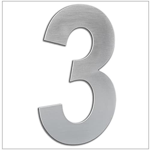 Numero de Casa Exterior, Portal o Garaje, 20 cm, Acero Inoxidable AISI 304, Instalación Adhesiva Numero 3