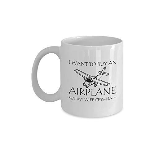 Taza de café divertida, color blanco, regalo para amantes del piloto o del avión, taza de café de viaje de cerámica para hombres y mujeres, taza de té de cerámica de 11 onzas