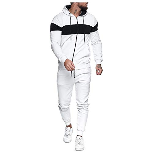 Tuta Sportiva Felpa Pantalone Lungo, per Uomo Pantaloni della felpa con stampa con cerniera e splicing Set di tute sportive ( L,Bianca )