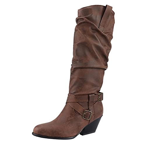 Binggong Botas de vaquero para mujer, de caña larga, de un solo color, vintage, hasta la rodilla, botas de cowboy, botas con tacón bloque a la moda, botas de moto, botas de invierno, botas de trabajo