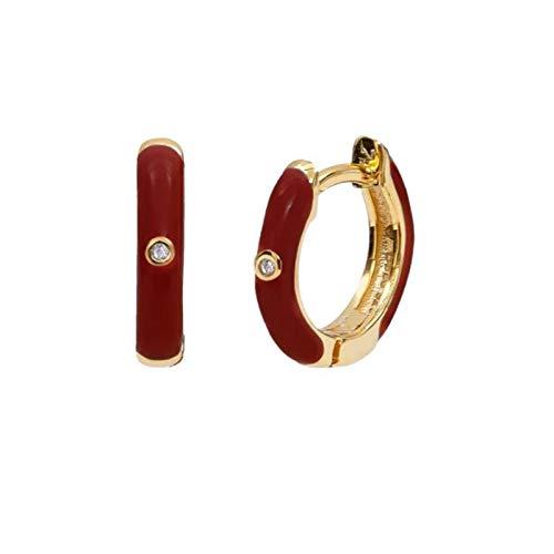 xingguang Pendientes de plata de ley con colores pequeños y coloridos para mujer, pendientes de cartílago, pendientes de plata de ley 925 inusuales (color de la gema: 7 oro)