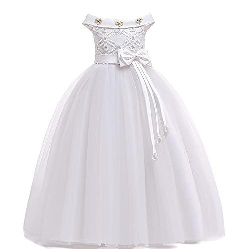 WAWALI Vestido de fiesta de Navidad Ropa de niña Vestido de boda Vestidos de niños para niñas Vestido de niños Vestido largo formal, blanco, 11-12 Años