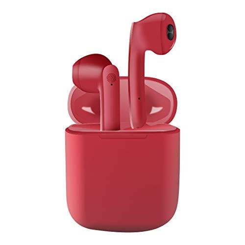 Auriculares inalámbricos Bluetooth 5.0,Control táctil, IPX5 reducción del Ruido estéreo 3D HD, con micrófono y Estuche de Carga portátil para Android iPhone Rojo