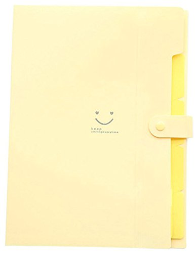 iToolai Smile Pattern Plastic 5 Pockets Accordion Expanding File Folder A4 Letter Size Documents Papers Organizer with Snap Closure (Daffodil)
