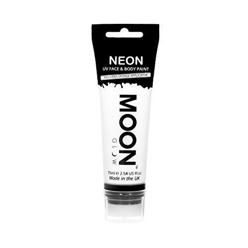 Moon Glow Grande Peinture fluo UV visage & corps. 75 ml Blanc avec applicateur éponge