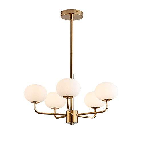 Sputnik - Lampadario in vetro, 15 luci a sospensione in ottone spazzolato metà secolo, lampada a sospensione G9, luce semi a filo per sala da pranzo, soggiorno, sfera bianca satinata, 9 luci
