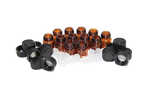 PULABO1 ml 1/4 dram flaconcino di vetro ambrato con orifizio riduttore e tappo in plastica nero, 12 confezioni da 12 pezzi confortevole ed ecologico.