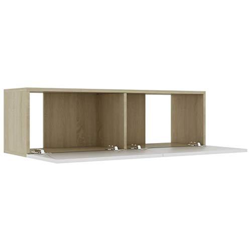 Kshzmoto Mueble con Soporte para TV Mueble de TV Mueble de Almacenamiento con Banco de TV con 2 estantes para Sala de Estar 100x30x30 cm, Roble Blanco y Sonoma