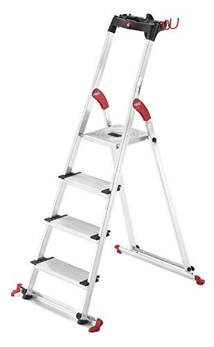 Hailo XXL Garden & Home Alu-Haushaltsleiter, 4 XXL-Stufen, EasyClix, abnehmbare Wiesenbodenleiste, Ablageschale, belastbar bis 150 kg