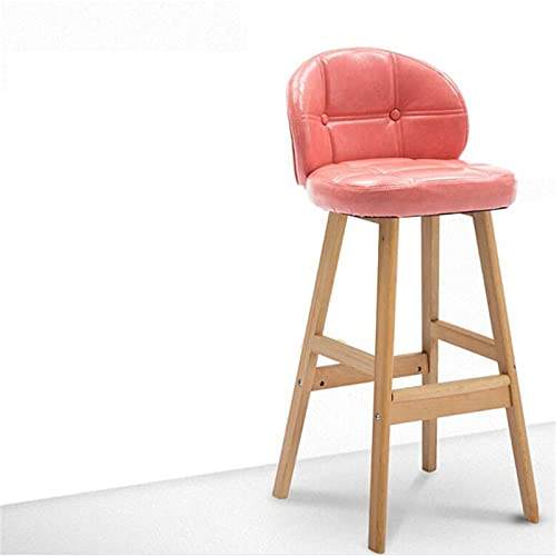 CHLDDHC Wooden Bar Stool With Backrest, With Non-Slip Footrest High Chair,Faux-Leather Seat,And Square Legs,Seat Height 60/68 Cm