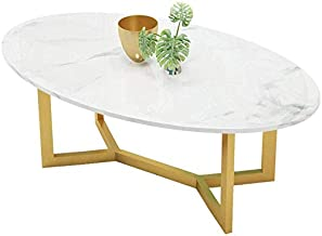 HTTXCJ Drawer Console Table Modern High Gloss Marble Coffee Table White Oval Dinner Office Home Oval Coffee Table Glossy W...