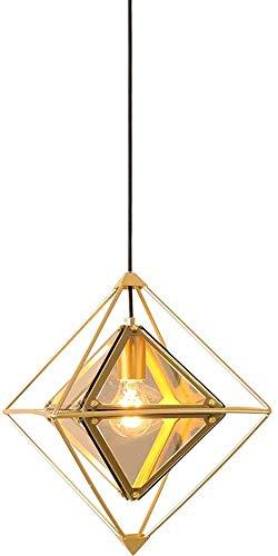 Lámpara De Pared Simple Y Fresca Morden Celling Colgante Luz de cristal Lámpara colgante de metal para comedor Sala de estar Dormitorio Chandelier Golden Geométrico Metal Alambre Cause Diseño E27 Base